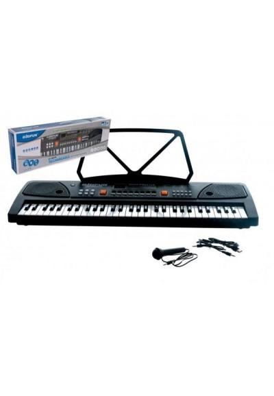 Pianko velké plast 61 kláves 63x20cm s mikrofonem a USB na nabíjecí baterie Li-ion v krabici 66x22cm