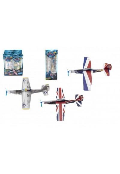 Letadlo házecí pěnové model 24cm mix barev v sáčku 48ks v boxu