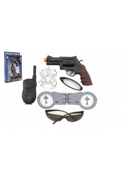 Policejní sada plast pistole 19cm na bat. se světlem se zvukem s doplňky v krabici 23x33x4cm
