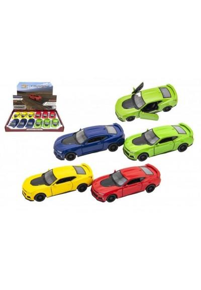 Auto Kinsmart Chevrolet Camaro ZL1 1:38 kov/plast 12,5cm 4 barvy na zpětné natažení 12ks v boxu