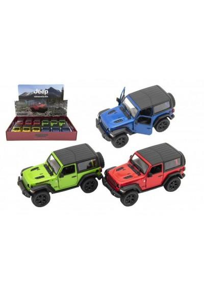 Auto Kinsmart Jeep Wrangler 2018 pevná střecha 1:34 12,5cm kov 4 barvy na zpětné nat. 12ks v boxu