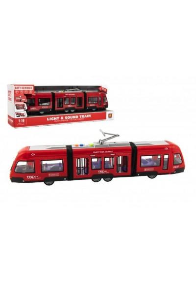 Tramvaj/Vlak plast 44cm na setrvačník na baterie se zvukem se světlem v krabici 48x17x11cm