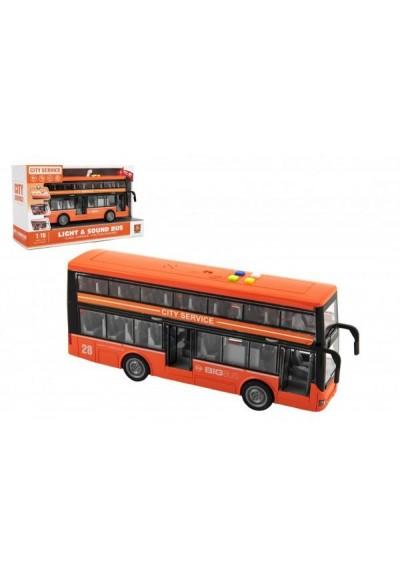 Autobus patrový plast 28cm na setrvačník na baterie se světlem se zvukem v krabici 32x19x12cm