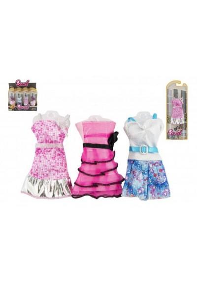 Oblečky/Šaty pro panenky 10-13cm 6 druhů na kartě 10x27x3cm 24ks v boxu